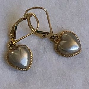 Jewelry - White and yellow 14 kt gold heart earrings